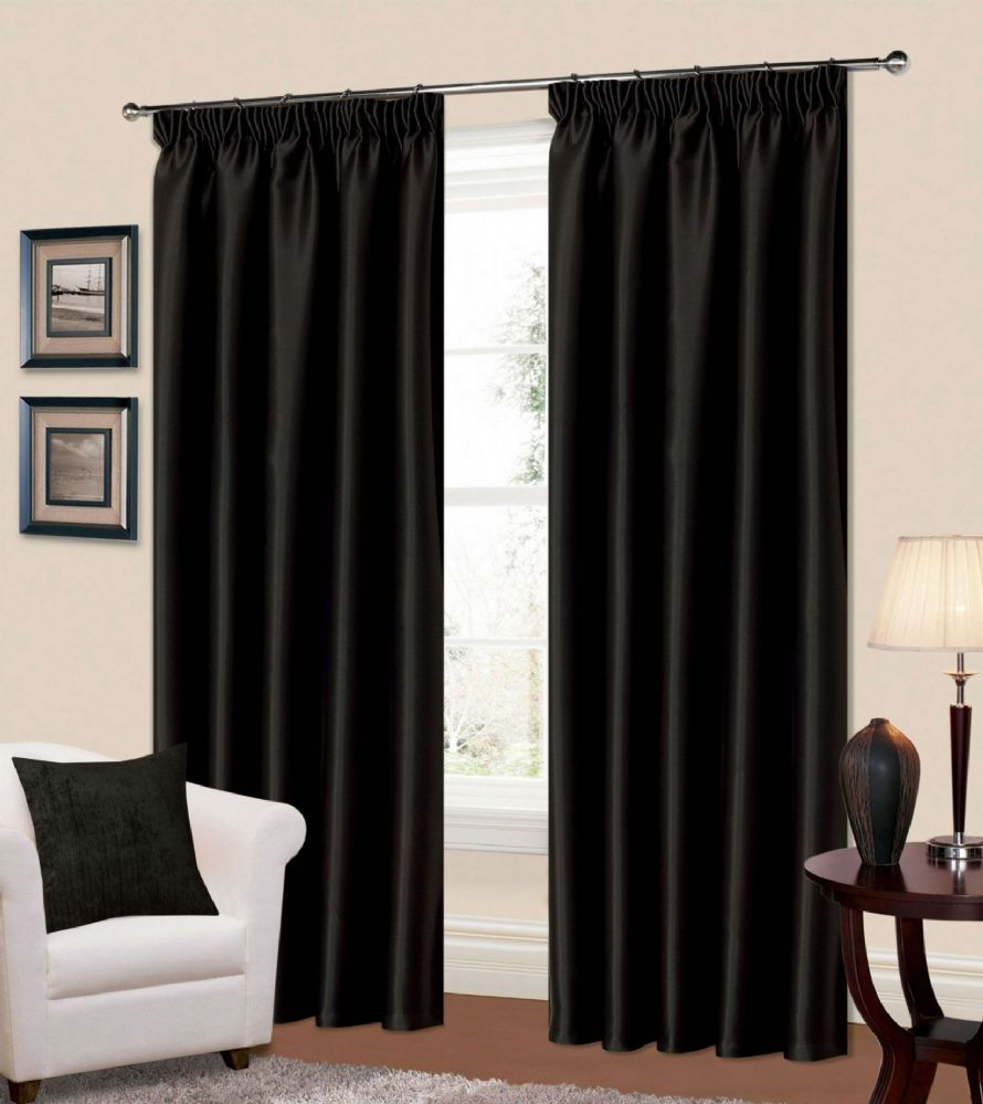 PLAIN BLACK COLOUR THERMAL BLACKOUT READYMADE BEDROOM